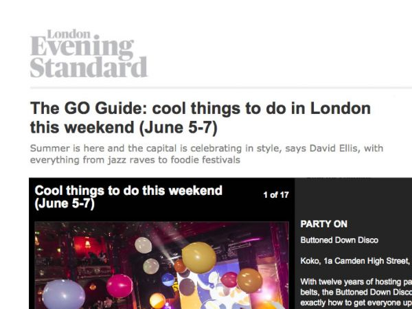 Buttoned Down Disco in The GO Guide: cool things to do in London this weekend